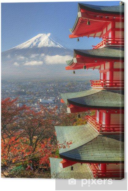 Mt. Fuji and Autumn Leaves at Arakura Sengen Shrine in Japan Canvas Print - Themes