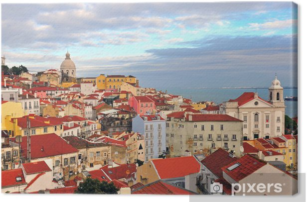 Multicolor houses of Lisbon Canvas Print - European Cities