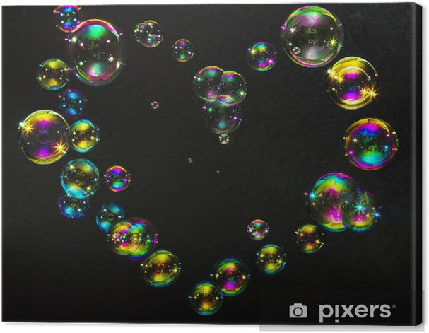Multicolored bubbles in the form of hearts on a dark background Canvas Print - Signs and Symbols