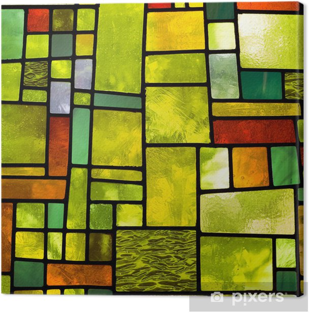 Multicolored stained glass window, square format Canvas Print - iStaging