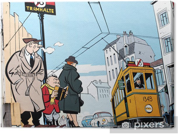 Mural painting in Brussels Canvas Print - Styles