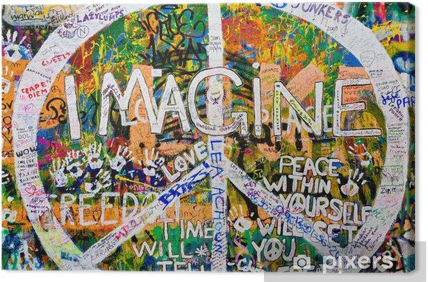 Muro de John Lennon (Praga) - Simbolo Paz (Toma 3) Canvas Print - European Cities