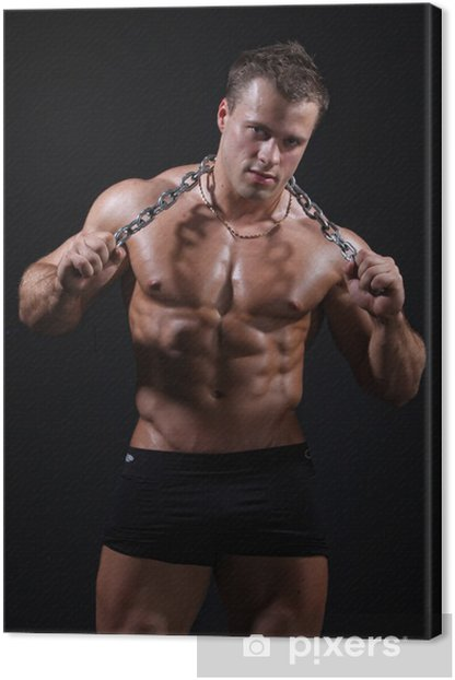 Muscle sexy wet nude man posing with chain in hands Canvas Print - Themes