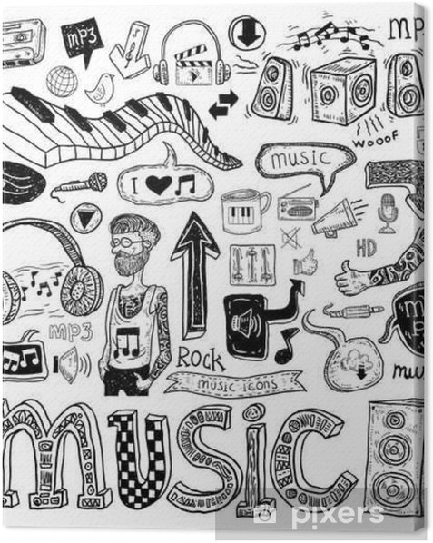 Music doodle collection, hand drawn illustration. Canvas Print - Hobbies and Leisure