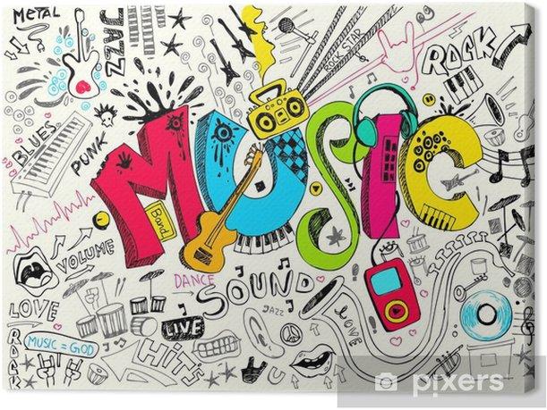 Music Doodle Canvas Print - Hip Hop