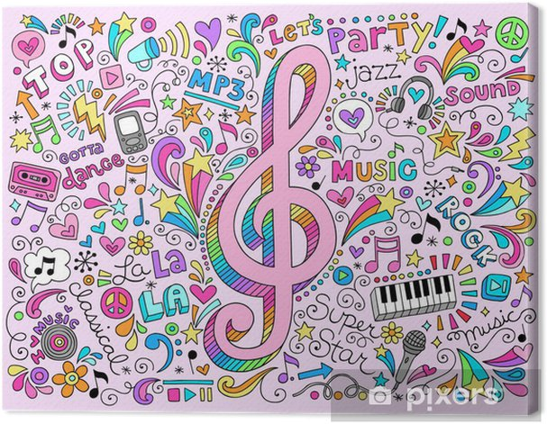 Music Notes g Clef Groovy Doodles Vector Illustration Canvas Print - Rock