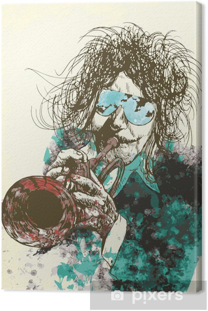 Musician, trumpeter. Hand drawing into vector Canvas Print - Jazz