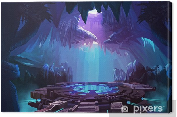 Mystery Cave With Sci Fi Building Video Game S Digital Cg Artwork Concept Illustration Realistic Cartoon Style Background Canvas Print Pixers We Live To Change