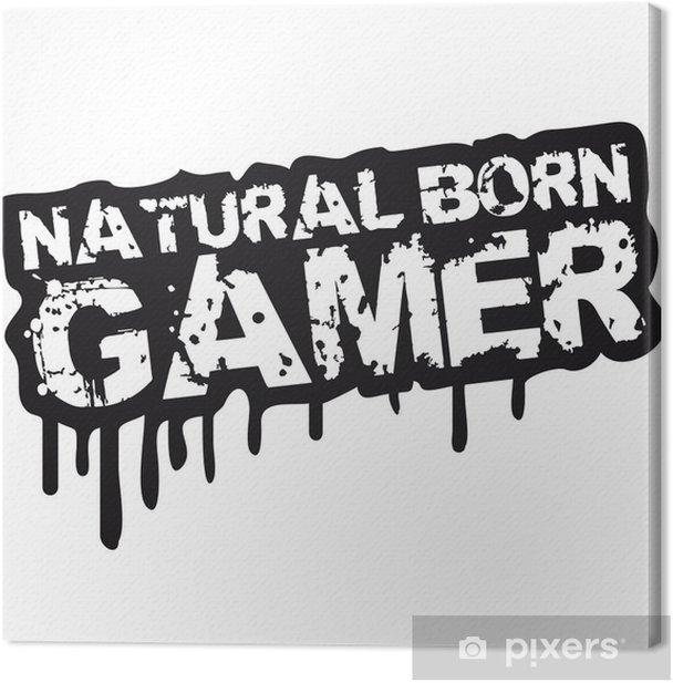 Natural Born Gamer Stempel Graffiti Canvas Print - Wall decals