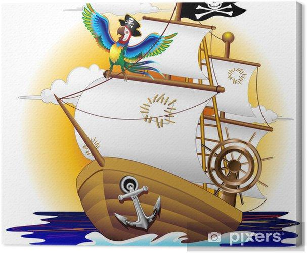 Nave Pirata con Pappagallo-Pirate Ship and Cartoon Macaw Canvas Print - Boats