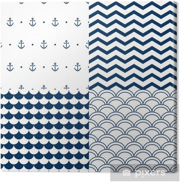 Navy vector seamless patterns set: scallop, waves, anchors Canvas Print - Styles