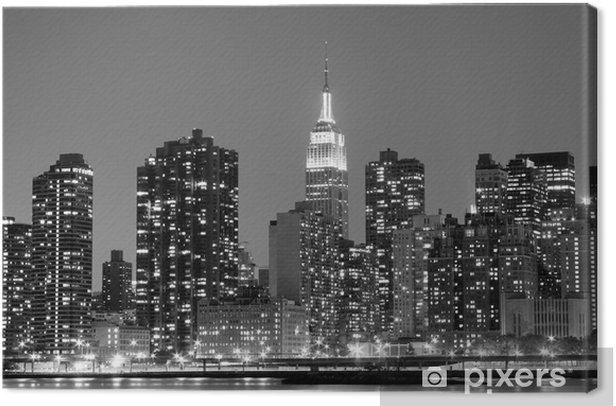 New York City at Night Lights, Midtown Manhattan Canvas Print -