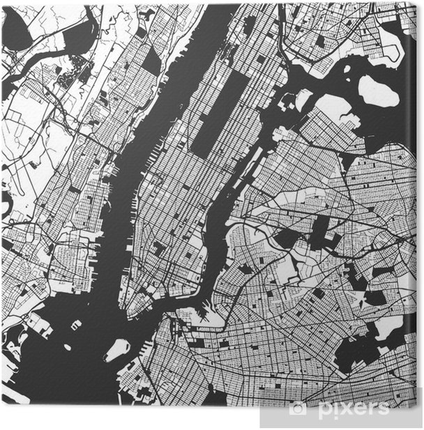 New York City Manhattan One Color Map Canvas Print - Graphic Resources
