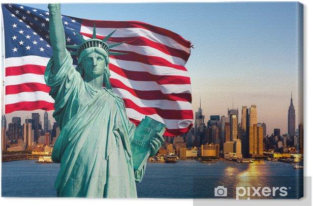 New York skyline, statue de la liberté Canvas Print - American Cities