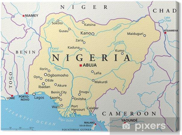 Nigeria Map Nigeria Landkarte Canvas Print Pixers We Live