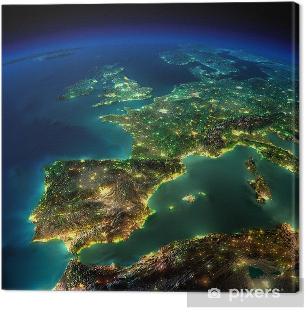 Night Earth. A piece of Europe - Spain, Portugal, France Canvas Print - iStaging