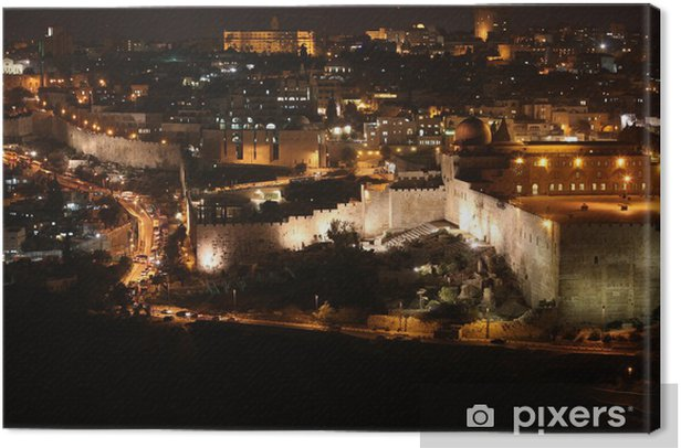 Night in Jerusalem old city, Temple Mount with Al-Aqsa Mosque, v Canvas Print - Private Buildings