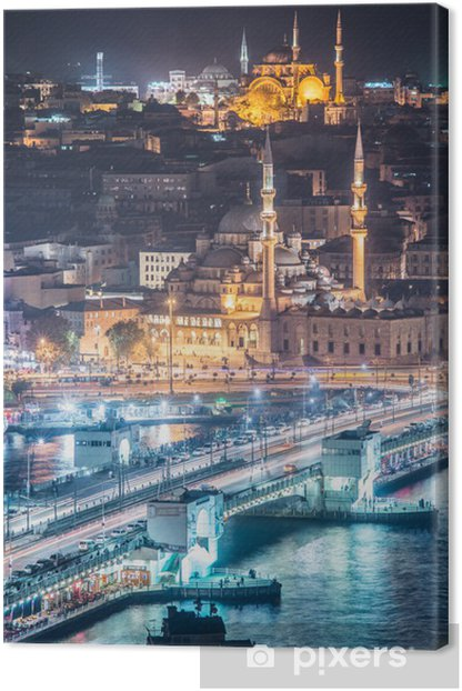 night Istanbul bridge Bosphorus vertical Canvas Print - Travel