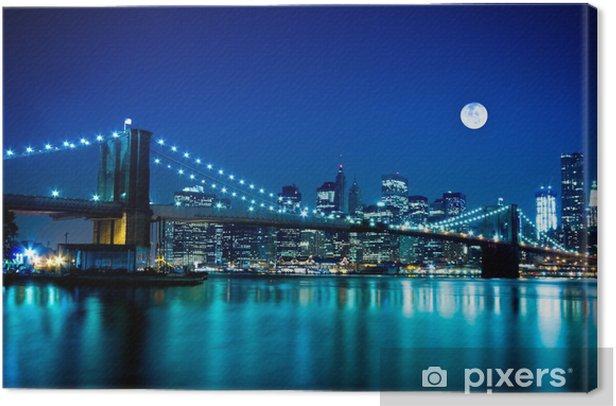 Night Scene Brooklyn Bridge and New York City Canvas Print -
