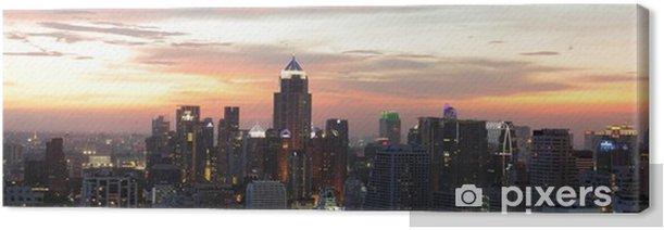 Night view of Bangkok from Asok area Canvas Print - Urban