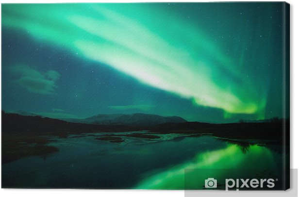 Northern lights above lagoon in Iceland Canvas Print - Themes