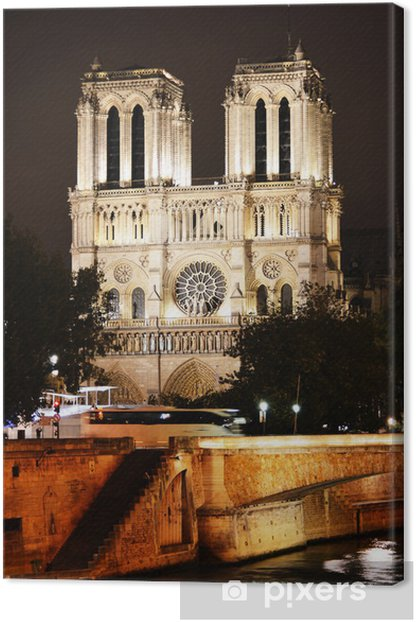 Notre-Dame Cathedral in Paris, France by night Canvas Print - European Cities