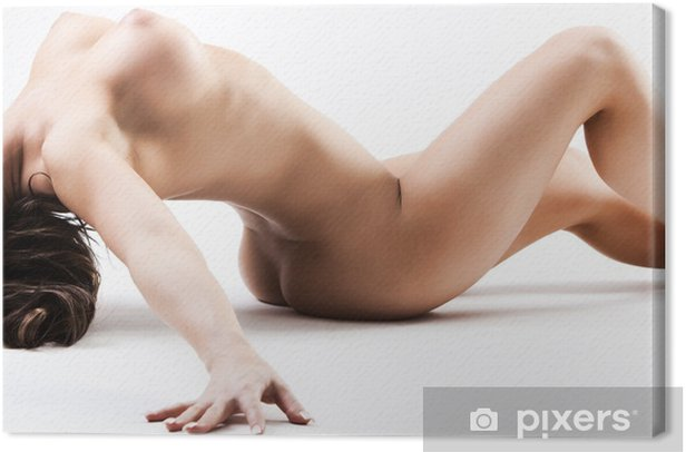 Nude woman with large breasts bending over backwards Canvas Print - Themes