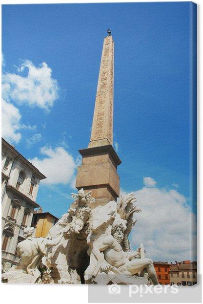 Obelisco della fontana dei quattro fiumi in Piazza Navona, Roma Canvas Print - European Cities