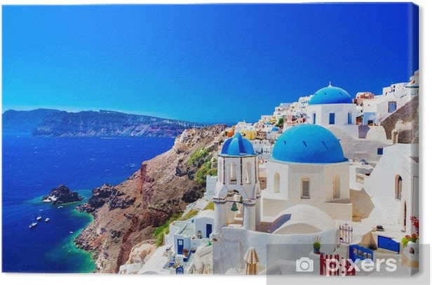 Oia town on Santorini island, Greece. Caldera on Aegean sea. Canvas Print - Travel
