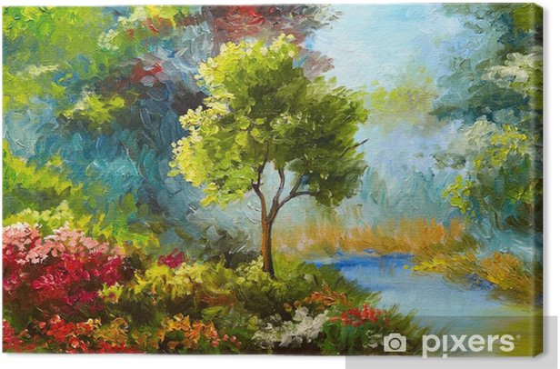 oil painting, flowers and trees near the river, sunset Canvas Print - Hobbies and Leisure