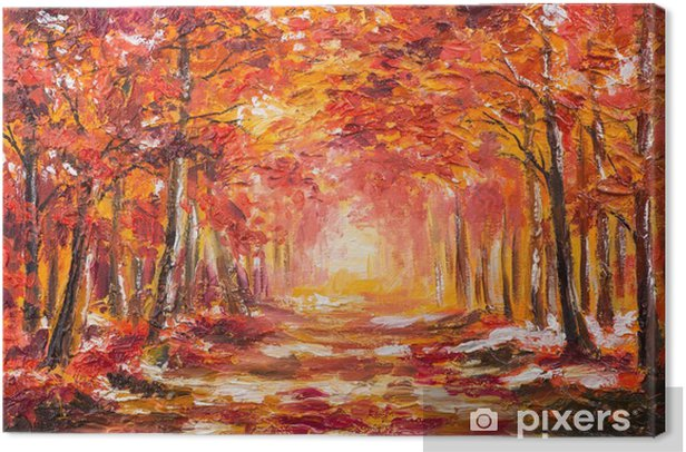 Oil painting landscape - colorful autumn forest Canvas Print - Hobbies and Leisure