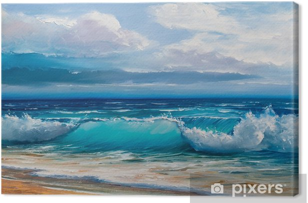 Oil painting of the sea on canvas. Canvas Print - Hobbies and Leisure