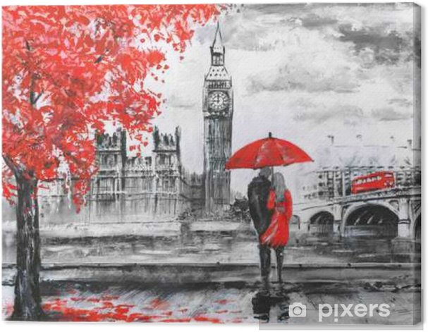 .oil painting on canvas, street view of london, river and bus on bridge. Artwork. Big ben. man and woman under a red umbrella Canvas Print - Travel