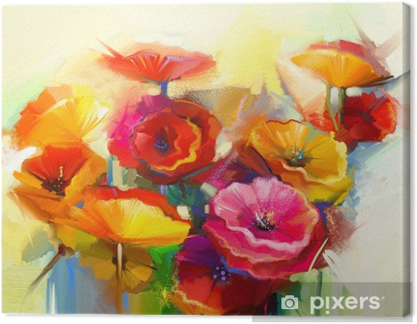 Oil painting Still life of yellow, pink and red poppy Canvas Print - Hobbies and Leisure