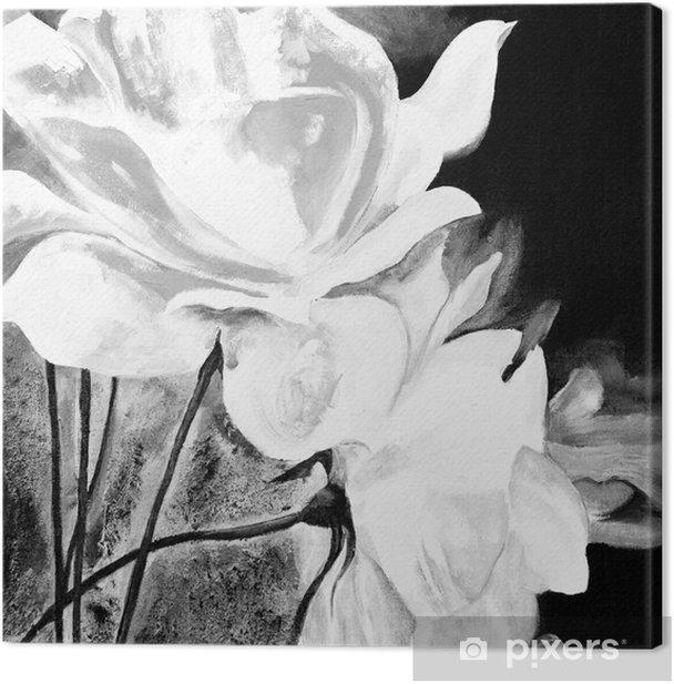 Ölbild: Weiße Rosen Canvas Print - Hobbies and Leisure