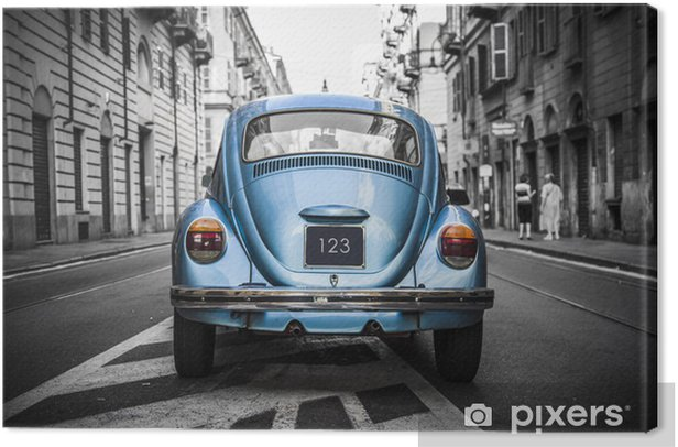 Old blue car Canvas Print - On the Road