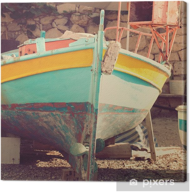 Old boat, abstract vintage background - impressions of Greece Canvas Print - Travel