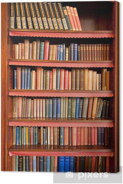Old bookshelf with rows of books in ancient library Canvas Print - Library