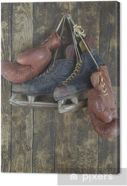 old boxing gloves and hockey skates Canvas Print - Themes