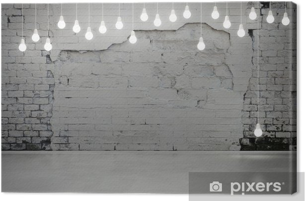 old brick wall and bulbs Canvas Print - Styles