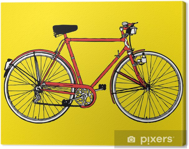 old classic bike motobike Illustration Vector Canvas Print - Bikes