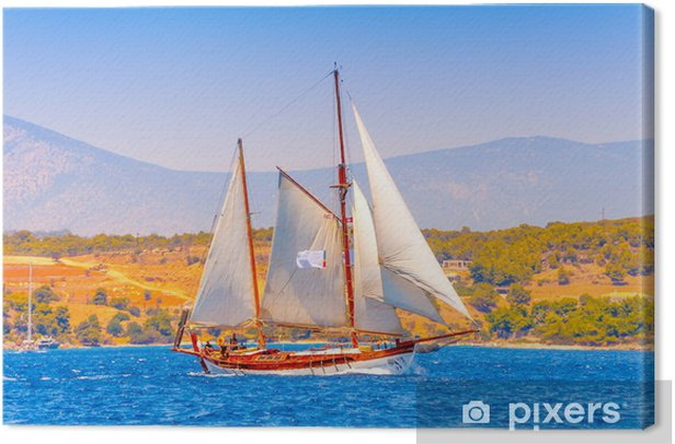 Old Classic Wooden Sailing Boat In Spetses Island In Greece Canvas Print