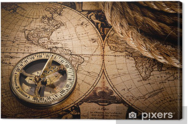 old compass and rope on vintage map 1752 Canvas Print - Themes