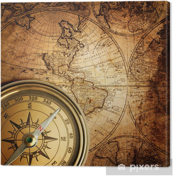 old compass on vintage map 1746 Canvas Print - Themes