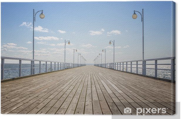 Old empty wooden pier over the sea shore with copy space Canvas Print - Styles
