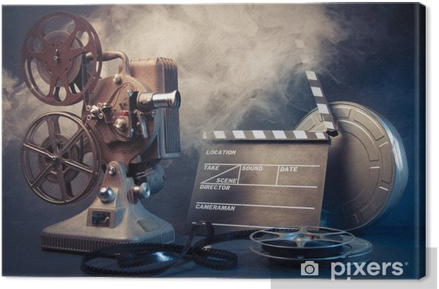 old film projector and movie objects Canvas Print - Themes