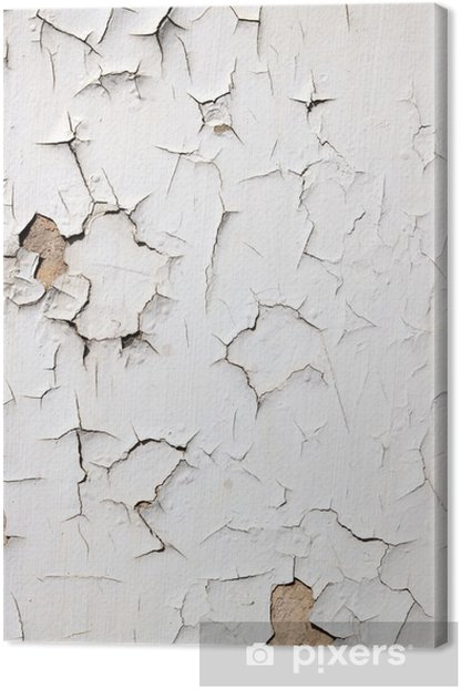 Old Flaky White Paint Ling Off A Wall Canvas Print