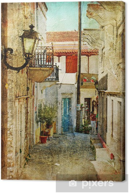 old greek streets- artistic picture Canvas Print -