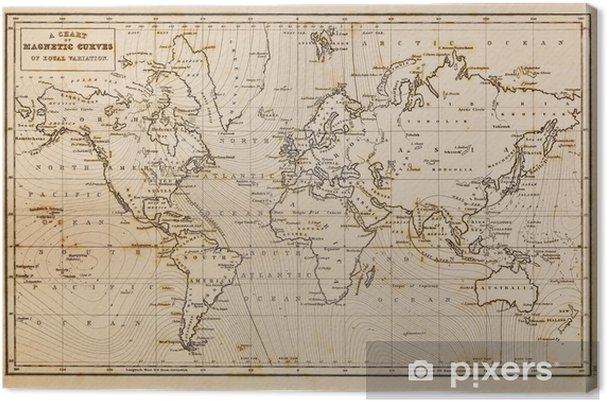 Old Hand Drawn Vintage World Map Canvas Print Pixers We Live To