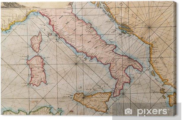 Old Map Of Italy Sicily Corsica Croatia And Sardinia Canvas Print